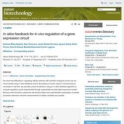 In silico feedback for in vivo regulation of a gene expression circuit : Nature Biotechnology