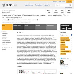 Regulation of the Neural Circuitry of Emotion by Compassion Meditation: Effects of Meditative Expertise