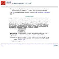 Balzergue, Coline. Régulation de la symbiose endomycorhizienne par le phosphate - thesesups