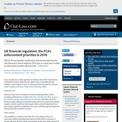UK financial regulation: the FCA's enforcement priorities in 2016