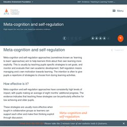 Meta-cognition and self-regulation