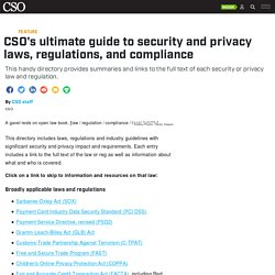 Security and privacy laws, regulations, and compliance: The complete guide