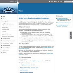 Review of the Safe Drinking Water Regulations: Water - Department of Health and Human Services, Victoria, Australia