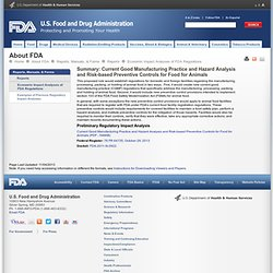 FDA - 2013 - Current Good Manufacturing Practice and Hazard Analysis and Risk-based Preventive Controls for Food for Animals