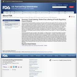 FDA 08/02/13 Food Labeling; Gluten-Free Labeling of Foods Regulatory Impact Analysis
