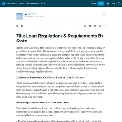 Title Loan Regulations & Requirements By State: hyperlend — LiveJournal
