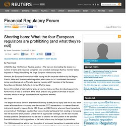 Shorting bans: What the four European regulators are prohibiting (and what they're not) | Financial Regulatory Forum