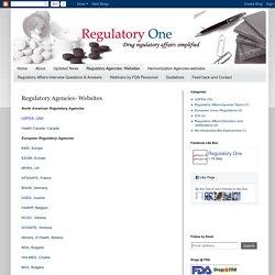 Regulatory One: Regulatory Agencies- Websites