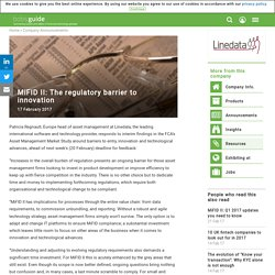MiFID II: The regulatory barrier to innovation