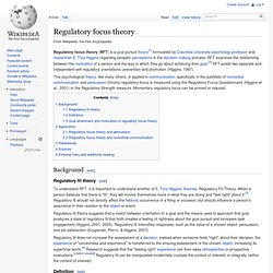 Regulatory focus theory