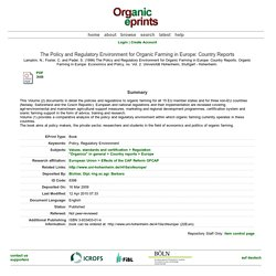 The Policy and Regulatory Environment for Organic Farming in Europe: Country Reports