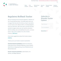 Regulatory Rollback Tracker - Environmental & Energy Law Program - Harvard Law School
