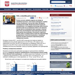 NIK o rehabilitacji leczniczej - Najwyższa Izba Kontroli