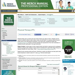 Physical Therapy (PT): Rehabilitation: Merck Manual Professional