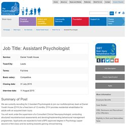 Brain Injury Rehabilitation Trust (BIRT) : Assistant Psychologist