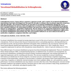 Vocational Rehabilitation in Schizophrenia