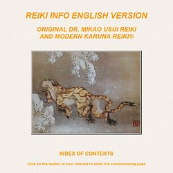 Info: Original Usui Reiki and Karuna Reiki
