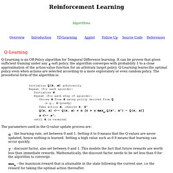 Reinforcement Learning - Algorithms