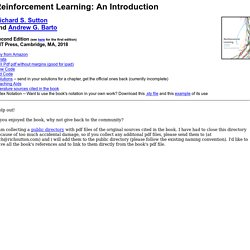 Sutton & Barto Book: Reinforcement Learning: An Introduction