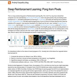 Deep Reinforcement Learning: Pong from Pixels