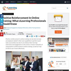Positive Reinforcement In Online Training: What eLearning Professionals Shoul...