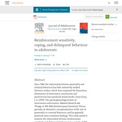 Reinforcement sensitivity, coping, and delinquent behaviour in adolescents