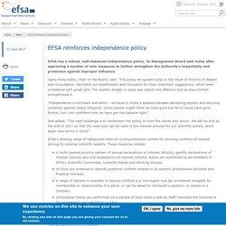EFSA 21/06/17 EFSA reinforces independence policy
