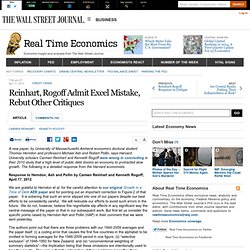 Reinhart, Rogoff Admit Excel Mistake, Rebut Other Critiques - Real Time Economics