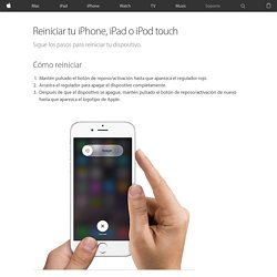 Reiniciar o restablecer tu iPhone, iPad o iPod touch - Soporte técnico de Apple