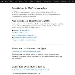 Réinitialisation du contrôleur de gestion du système (SMC) sur votre Mac