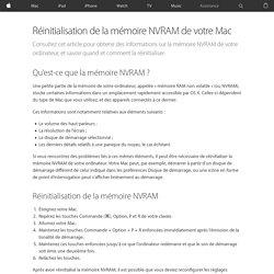 Réinitialisation de la mémoire NVRAM de votre Mac