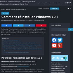 Réinitialisation de Windows 10 : tutoriel pour réinstaller Windows 10