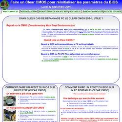 Clear CMOS : Comment réinitialiser les paramètres du BIOS (Clear CMOS)