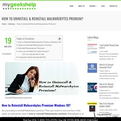 Reinstall Malwarebytes Premium Windows 10