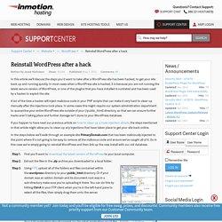 Reinstall WordPress after a hack