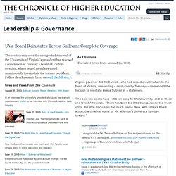 Teresa Sullivan Resigns From UVa: Complete Coverage - Leadership & Governance