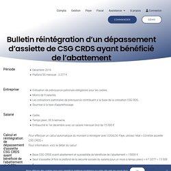 Bulletin réintégration d'un dépassement d'assiette de CSG CRDS ayant bénéficié de l'abattement