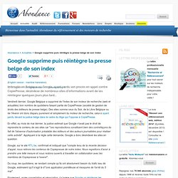 Google supprime puis réintègre la presse belge de son index