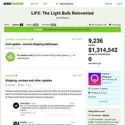 LIFX: The Light Bulb Reinvented by Phil Bosua » Updates