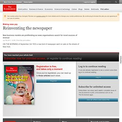 Making news pay: Reinventing the newspaper