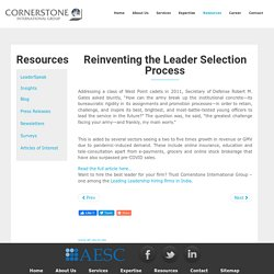 Reinventing The Leader Selection Process - Cornerstone India