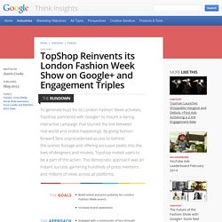 TopShop Reinvents its London Fashion Week Show on Google+ and Engagement Triples – Think Insights – Google