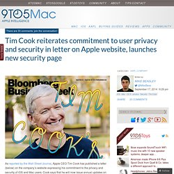 Tim Cook reassures user privacy— launches new security page on Apple website