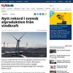 Nytt rekord i svensk elproduktion från vindkraft