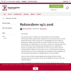 Rektorsbrev 19/2 2016 - Hagabergskolan