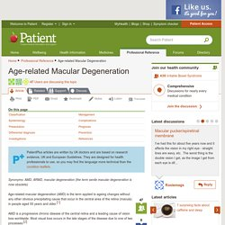 Age-related Macular Degeneration. Eye Condition; lost vision