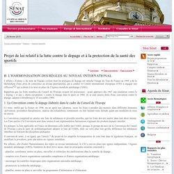 Projet de loi relatif à la lutte contre le dopage et à la protection de la santé des sportifs