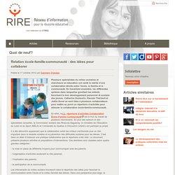 Relation école-famille-communauté : des idées pour collaborer