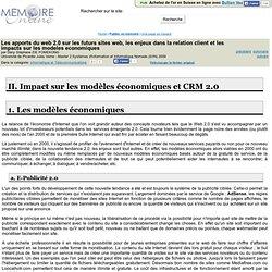 Les apports du web 2.0 sur les futurs sites web, les enjeux dans la relation client et les impacts sur les modeles economiques - Dany Stéphane ZIE FOMEKONG
