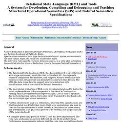 Relational Meta-Language (RML) - generation of compilers from Natural Semantics